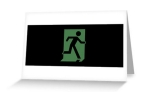 Running Man Fire Safety Exit Sign Emergency Evacuation Greeting Card 65