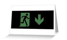 Running Man Fire Safety Exit Sign Emergency Evacuation Greeting Card 66