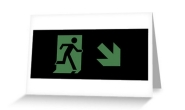 Running Man Fire Safety Exit Sign Emergency Evacuation Greeting Card 67