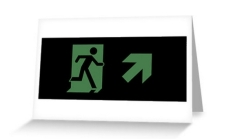 Running Man Fire Safety Exit Sign Emergency Evacuation Greeting Card 68
