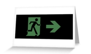 Running Man Fire Safety Exit Sign Emergency Evacuation Greeting Card 69