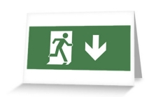 Running Man Fire Safety Exit Sign Emergency Evacuation Greeting Card 7
