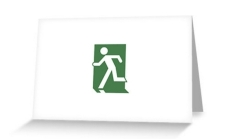Running Man Fire Safety Exit Sign Emergency Evacuation Greeting Card 71