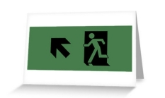 Running Man Fire Safety Exit Sign Emergency Evacuation Greeting Card 72