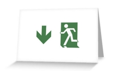 Running Man Fire Safety Exit Sign Emergency Evacuation Greeting Card 73