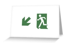 Running Man Fire Safety Exit Sign Emergency Evacuation Greeting Card 74
