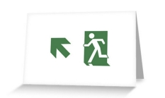 Running Man Fire Safety Exit Sign Emergency Evacuation Greeting Card 75