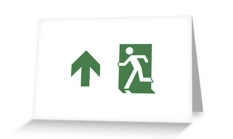 Running Man Fire Safety Exit Sign Emergency Evacuation Greeting Card 77