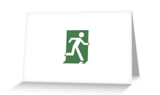 Running Man Fire Safety Exit Sign Emergency Evacuation Greeting Card 78