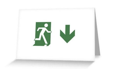Running Man Fire Safety Exit Sign Emergency Evacuation Greeting Card 79
