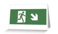 Running Man Fire Safety Exit Sign Emergency Evacuation Greeting Card 8