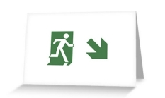 Running Man Fire Safety Exit Sign Emergency Evacuation Greeting Card 80