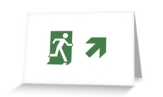 Running Man Fire Safety Exit Sign Emergency Evacuation Greeting Card 81