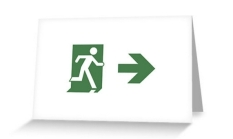 Running Man Fire Safety Exit Sign Emergency Evacuation Greeting Card 82