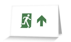 Running Man Fire Safety Exit Sign Emergency Evacuation Greeting Card 84
