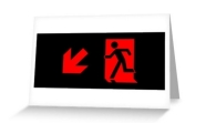 Running Man Fire Safety Exit Sign Emergency Evacuation Greeting Card 87