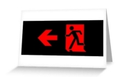 Running Man Fire Safety Exit Sign Emergency Evacuation Greeting Card 89