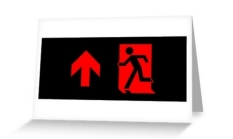 Running Man Fire Safety Exit Sign Emergency Evacuation Greeting Card 90