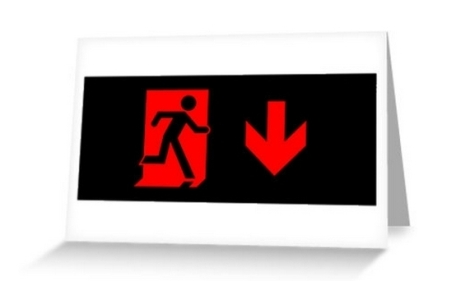 Running Man Fire Safety Exit Sign Emergency Evacuation Greeting Card 91