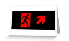Running Man Fire Safety Exit Sign Emergency Evacuation Greeting Card 93
