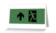 Running Man Fire Safety Exit Sign Emergency Evacuation Greeting Card 94