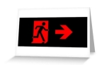 Running Man Fire Safety Exit Sign Emergency Evacuation Greeting Card 95