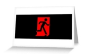Running Man Fire Safety Exit Sign Emergency Evacuation Greeting Card 97