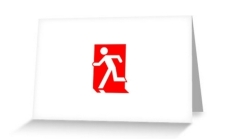 Running Man Fire Safety Exit Sign Emergency Evacuation Greeting Card 98