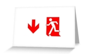Running Man Fire Safety Exit Sign Emergency Evacuation Greeting Card 99