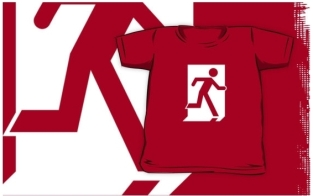 Running Man Fire Safety Exit Sign Emergency Evacuation Kids T-Shirt 10