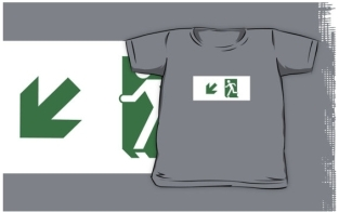 Running Man Fire Safety Exit Sign Emergency Evacuation Kids T-Shirt 100