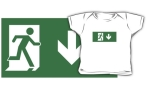 Running Man Fire Safety Exit Sign Emergency Evacuation Kids T-Shirt 107