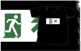 Running Man Fire Safety Exit Sign Emergency Evacuation Kids T-Shirt 108