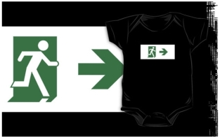 Running Man Fire Safety Exit Sign Emergency Evacuation Kids T-Shirt 109
