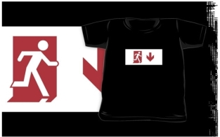 Running Man Fire Safety Exit Sign Emergency Evacuation Kids T-Shirt 11