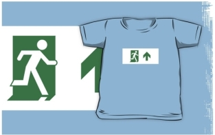 Running Man Fire Safety Exit Sign Emergency Evacuation Kids T-Shirt 112