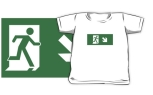 Running Man Fire Safety Exit Sign Emergency Evacuation Kids T-Shirt 118