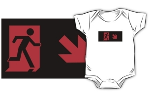 Running Man Fire Safety Exit Sign Emergency Evacuation Kids T-Shirt 121