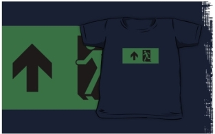 Running Man Fire Safety Exit Sign Emergency Evacuation Kids T-Shirt 123