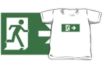 Running Man Fire Safety Exit Sign Emergency Evacuation Kids T-Shirt 13