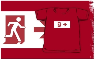 Running Man Fire Safety Exit Sign Emergency Evacuation Kids T-Shirt 15