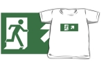 Running Man Fire Safety Exit Sign Emergency Evacuation Kids T-Shirt 2