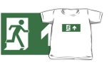 Running Man Fire Safety Exit Sign Emergency Evacuation Kids T-Shirt 24