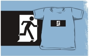 Running Man Fire Safety Exit Sign Emergency Evacuation Kids T-Shirt 25