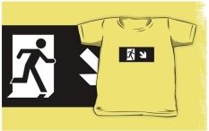 Running Man Fire Safety Exit Sign Emergency Evacuation Kids T-Shirt 27