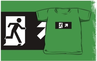 Running Man Fire Safety Exit Sign Emergency Evacuation Kids T-Shirt 28