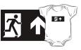 Running Man Fire Safety Exit Sign Emergency Evacuation Kids T-Shirt 30