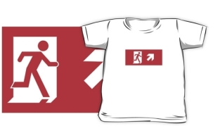 Running Man Fire Safety Exit Sign Emergency Evacuation Kids T-Shirt 34