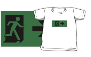 Running Man Fire Safety Exit Sign Emergency Evacuation Kids T-Shirt 35