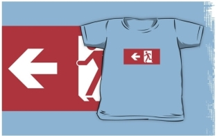 Running Man Fire Safety Exit Sign Emergency Evacuation Kids T-Shirt 40